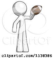 White Design Mascot Man Holding Football Up