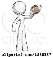 White Design Mascot Woman Holding Football Up