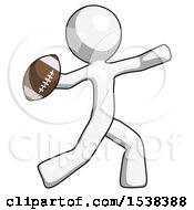 White Design Mascot Man Throwing Football