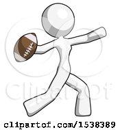 White Design Mascot Woman Throwing Football