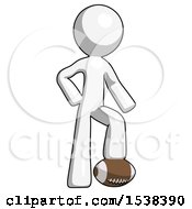White Design Mascot Man Standing With Foot On Football