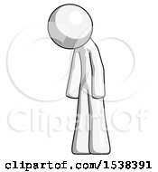 White Design Mascot Man Depressed With Head Down Turned Left