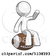 White Design Mascot Man Sitting On Giant Football