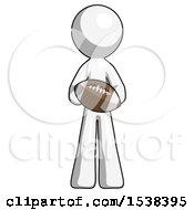 White Design Mascot Man Giving Football To You