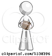 White Design Mascot Woman Giving Football To You