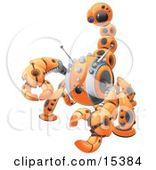 Orange Scorpion Robot In Defense Pose Preparing To Attack