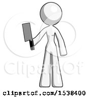 White Design Mascot Woman Holding Meat Cleaver
