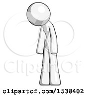 White Design Mascot Woman Depressed With Head Down Turned Left