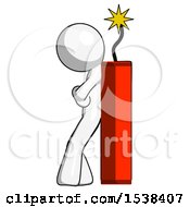 White Design Mascot Man Leaning Against Dynimate Large Stick Ready To Blow