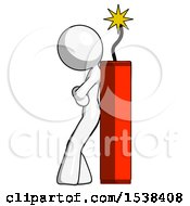 White Design Mascot Woman Leaning Against Dynimate Large Stick Ready To Blow