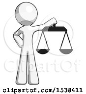 White Design Mascot Man Holding Scales Of Justice