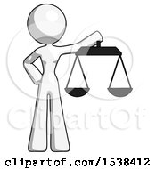 White Design Mascot Woman Holding Scales Of Justice