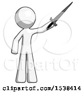 White Design Mascot Man Holding Sword In The Air Victoriously