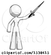 White Design Mascot Woman Holding Sword In The Air Victoriously