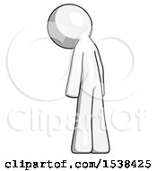 White Design Mascot Man Depressed With Head Down Back To Viewer Left