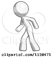 White Design Mascot Man Suspense Action Pose Facing Left