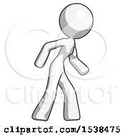 White Design Mascot Woman Suspense Action Pose Facing Right