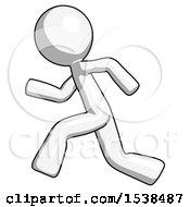 White Design Mascot Man Running Fast Left