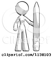 Halftone Design Mascot Woman With Large Pencil Standing Ready To Write