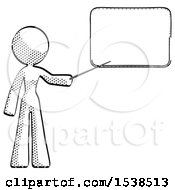 Halftone Design Mascot Woman Pointing At Dry Erase Board With Stick Giving Presentation