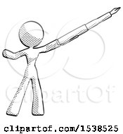 Halftone Design Mascot Woman Pen Is Mightier Than The Sword Calligraphy Pose