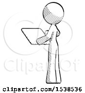 Halftone Design Mascot Woman Looking At Tablet Device Computer With Back To Viewer