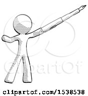 Halftone Design Mascot Man Pen Is Mightier Than The Sword Calligraphy Pose