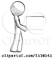 Halftone Design Mascot Man Show Tablet Device Computer To Viewer Blank Area