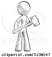 Halftone Design Mascot Woman With Sledgehammer Standing Ready To Work Or Defend