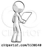 Halftone Design Mascot Man Looking At Tablet Device Computer Facing Away