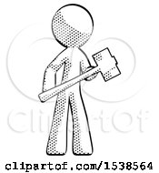 Halftone Design Mascot Man With Sledgehammer Standing Ready To Work Or Defend