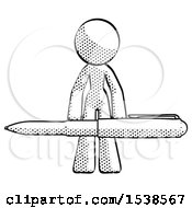 Halftone Design Mascot Woman Lifting A Giant Pen Like Weights