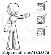 Halftone Design Mascot Woman Standing By A Checkmark List Arm Extended