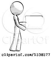 Halftone Design Mascot Woman Show Tablet Device Computer To Viewer Blank Area