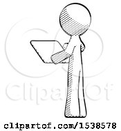 Halftone Design Mascot Man Looking At Tablet Device Computer With Back To Viewer