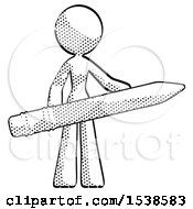 Halftone Design Mascot Woman Office Worker Or Writer Holding A Giant Pencil