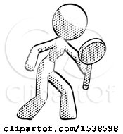 Halftone Design Mascot Woman Inspecting With Large Magnifying Glass Right