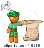 Orange Man Dressed As Robin Hood With A Feather In His Hat Holding A Blank Scroll And Acting As A Pageboy