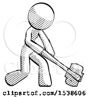 Halftone Design Mascot Woman Hitting With Sledgehammer Or Smashing Something At Angle