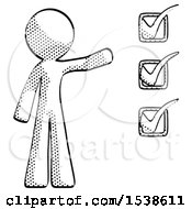 Halftone Design Mascot Man Standing By List Of Checkmarks