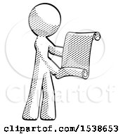 Halftone Design Mascot Man Holding Blueprints Or Scroll