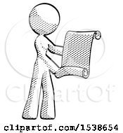 Halftone Design Mascot Woman Holding Blueprints Or Scroll