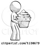 Halftone Design Mascot Man Holding Large Cupcake Ready To Eat Or Serve