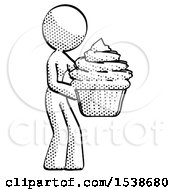Halftone Design Mascot Woman Holding Large Cupcake Ready To Eat Or Serve