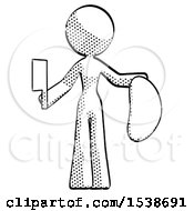Halftone Design Mascot Woman Holding Large Steak With Butcher Knife