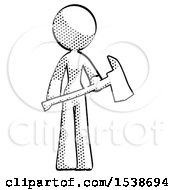 Halftone Design Mascot Woman Holding Red Fire Fighters Ax