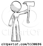 Halftone Design Mascot Woman Holding Up Red Firefighters Ax