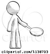 Halftone Design Mascot Man Frying Egg In Pan Or Wok Facing Right