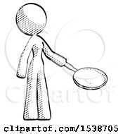 Halftone Design Mascot Woman Frying Egg In Pan Or Wok Facing Right