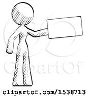 Halftone Design Mascot Woman Holding Large Envelope